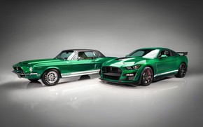 Picture Mustang, Ford, Shelby, GT500, pair, 1968, 2020, Green Hornet, EXP 500
