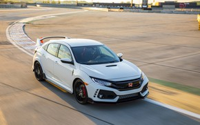 Picture white, speed, track, turn, Honda, hatchback, the five-door, 2019, Civic Type R, 5th gen, FK8