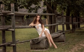 Picture summer, look, girl, trees, nature, barefoot, dress, brunette, the fence, tattoo, shop, logs, barefoot, Victoria …