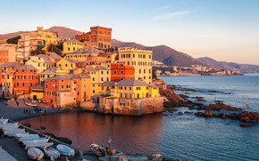 Picture sea, home, the evening, Italy, Genoa