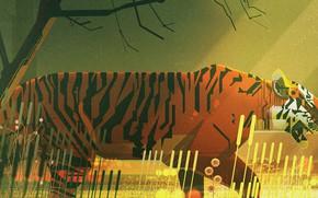 Picture Minimalism, Cat, Tiger, Style, Predator, Animals, Art, Art, Style, Digital, Illustration, illustration, Animals, James Gilleard, …