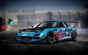 Picture Auto, Blue, Machine, Drift, Mazda, Illustration, Mazda rx7, Mazda RX-7, RX7, Vinyls, Transport & Vehicles, …