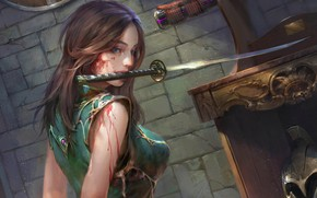 Picture look, girl, weapons, blood, fantasy, art