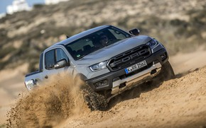 Picture sand, beach, grey, Ford, Raptor, pickup, Ranger, 2019