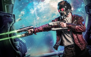 Picture space, weapons, fiction, jacket, shooting, helmet, comic, MARVEL, Guardians Of The Galaxy, Peter Quill, Star-Lord, …