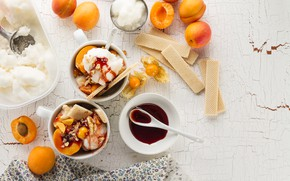 Picture ice cream, fruit, vanilla, syrup, apricots, waffles