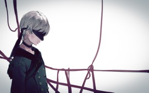 Picture tape, guy, eye patch, Nier Automata, YoRHa No 9 Type S