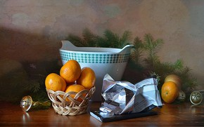 Picture table, holiday, tree, new year, chocolate, dishes, still life, tangerines, bells