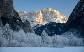 Picture winter, the sky, snow, trees, mountains, nature, rocks, Austria, Styria