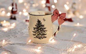 Picture glass, christmas, new year, holidays, food, macro, cup, blur, bokeh, bow, candle, christmas lights, garland, …