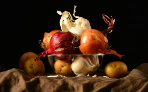 Picture food, bow, black background, still life, vegetables, different, composition, garlic, potatoes