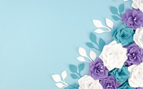 Picture flowers, paper, background, blue