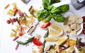 Picture lemon, rosemary, Parmesan, pasta