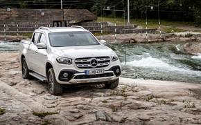 Picture white, river, stones, shore, Mercedes-Benz, pickup, 2018, X-Class