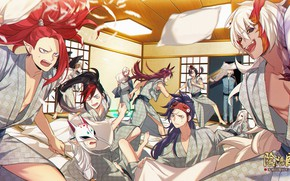 Picture room, pillow, fight, guys, Onmyouji, onmedia