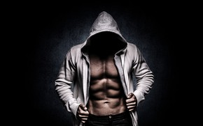 Picture pose, figure, hood, muscle, muscle, muscles, press, athlete, Bodybuilding, bodybuilder, abs, weight, bodybuilder, The hooded …