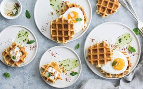 Wallpaper food, eggs, Breakfast, plates, sauce, waffles, spices