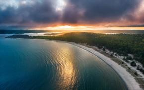 Picture forest, beach, sunset, lake, Russia, Lake Ladoga, Karelia, Yuri Stolypin, Island Kajosaari, National Park Ladoga …