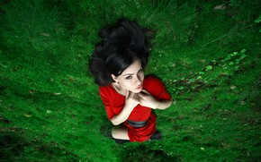Picture girl, moss, dress, in red
