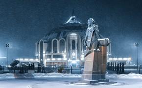 Picture winter, snow, night, the city, lighting, monument, Museum, Tula, Ilya Garbuzov