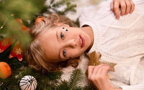 Picture look, branches, smile, holiday, toys, new year, spruce, girl, needles, jumper, teen