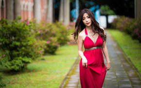 Picture summer, girl, red, model, dress, Asian