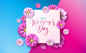 Picture flowers, happy, pink background, March 8, pink, flowers, women's day, 8 march, women's day