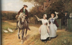 Picture geese, seeing, HARDY, LEAVING HOME, the guy on the horse
