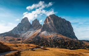 Picture road, Italy, autumn, dolomites, mounts