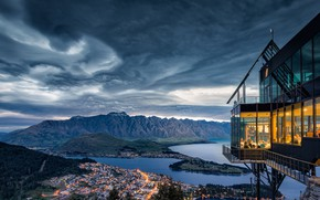 Picture landscape, mountains, clouds, nature, the city, lake, New Zealand, restaurant