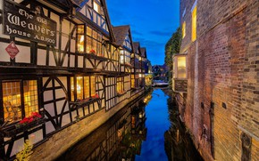 Picture reflection, river, wall, England, building, home, Kent, channel, England, Kent, River Stour, Canterbury, Canterbury, The …