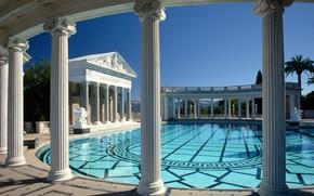 Picture CA, columns, USA, architecture, Hearst Castle, San Simeon, the pool of Neptune