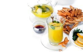 Picture orange, cookies, juice, mint