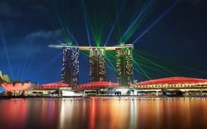 Picture city, light, sea, night, Singapore, building, cityscape, spotlights, Marina Bay, lasers, skycrapers