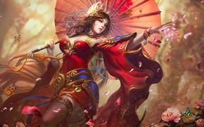 Picture Girl, Costume, China, Asia, Umbrella, Art, Beauty, Fiction, by Tian Zi, Tian Zi, Daochang