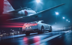 Picture White, The plane, Fighter, GTR, Japan, Nissan, Car, Speed, Night, White, Nissan GT-R, Nissan GTR, …