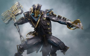 Picture pose, weapons, being, hammer, soldiers, armor, cyborg, character, Warframe
