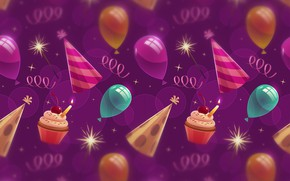 Wallpaper background, texture, background, cupcakes, balloons, Birthday, cupcakes