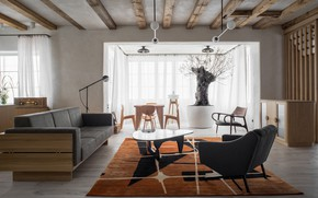 Picture design, style, interior, living room, dining room, by Loft Kolasiński, House in Szczecin