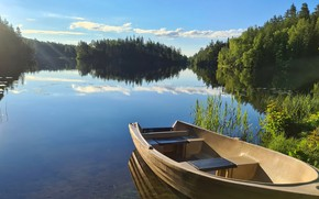 Picture greens, forest, summer, clouds, light, lake, reflection, blue, shore, boat, morning, haze, pond, water surface
