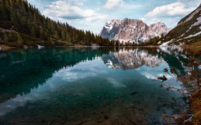 Picture landscape, mountains, nature, lake, reflection, spring, Austria, Alps, forest