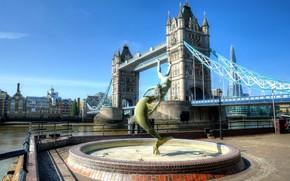 Picture bridge, England, London, Thames, promenade