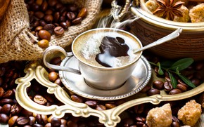 Picture coffee, cinnamon, coffee beans, Anis