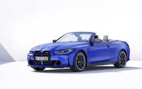 Picture bmw, white, convertible, blue, background, cabrio, Beha, competition, cabriolet, beamer, 2021, m xdrive