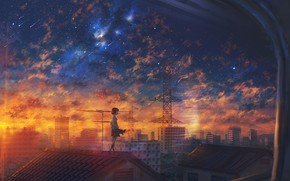 Picture roof, sunset, the city, girl, Starfall
