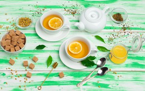 Picture lemon, tea, honey, Cup, citrus, fragrant
