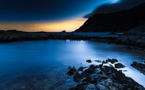 Picture sea, mountains, night, rocks, shore, Norway, twilight, The Lofoten Islands, Lofoten