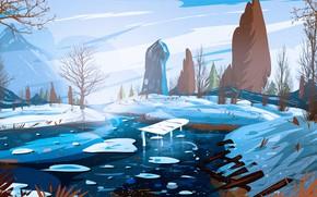 Picture Art, Winter, River, Illustration, Environments, Soumya Ranjan, by Soumya Ranjan