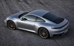 Picture asphalt, background, coupe, 911, Porsche, side, Carrera 4S, 992, 2019
