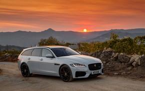 Picture sunset, Jaguar, universal, Sportbrake, 2017, XF S